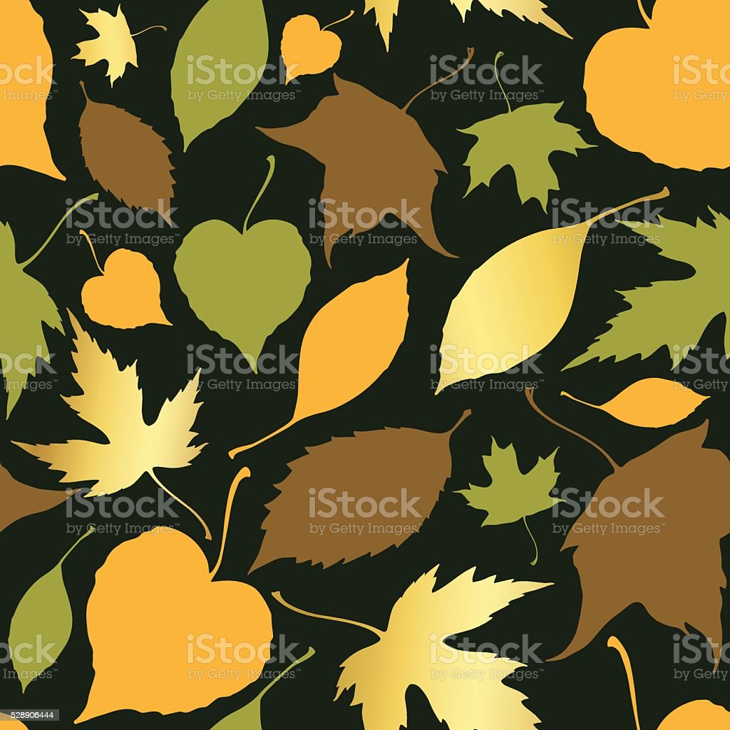 Seamless pattern with decorative falling leaves vector art illustration
