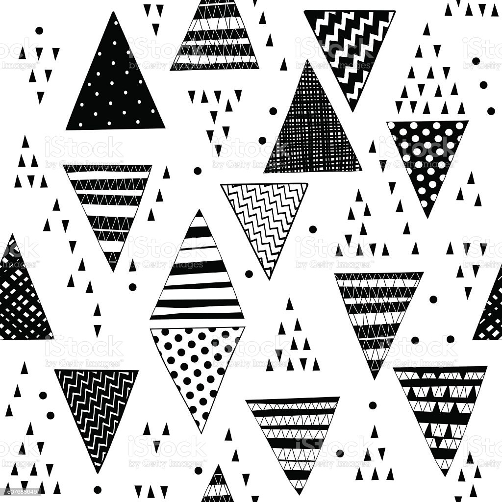 Seamless pattern with decorative hand-drawn triangles. Vector black-white  geometric background. vector art illustration