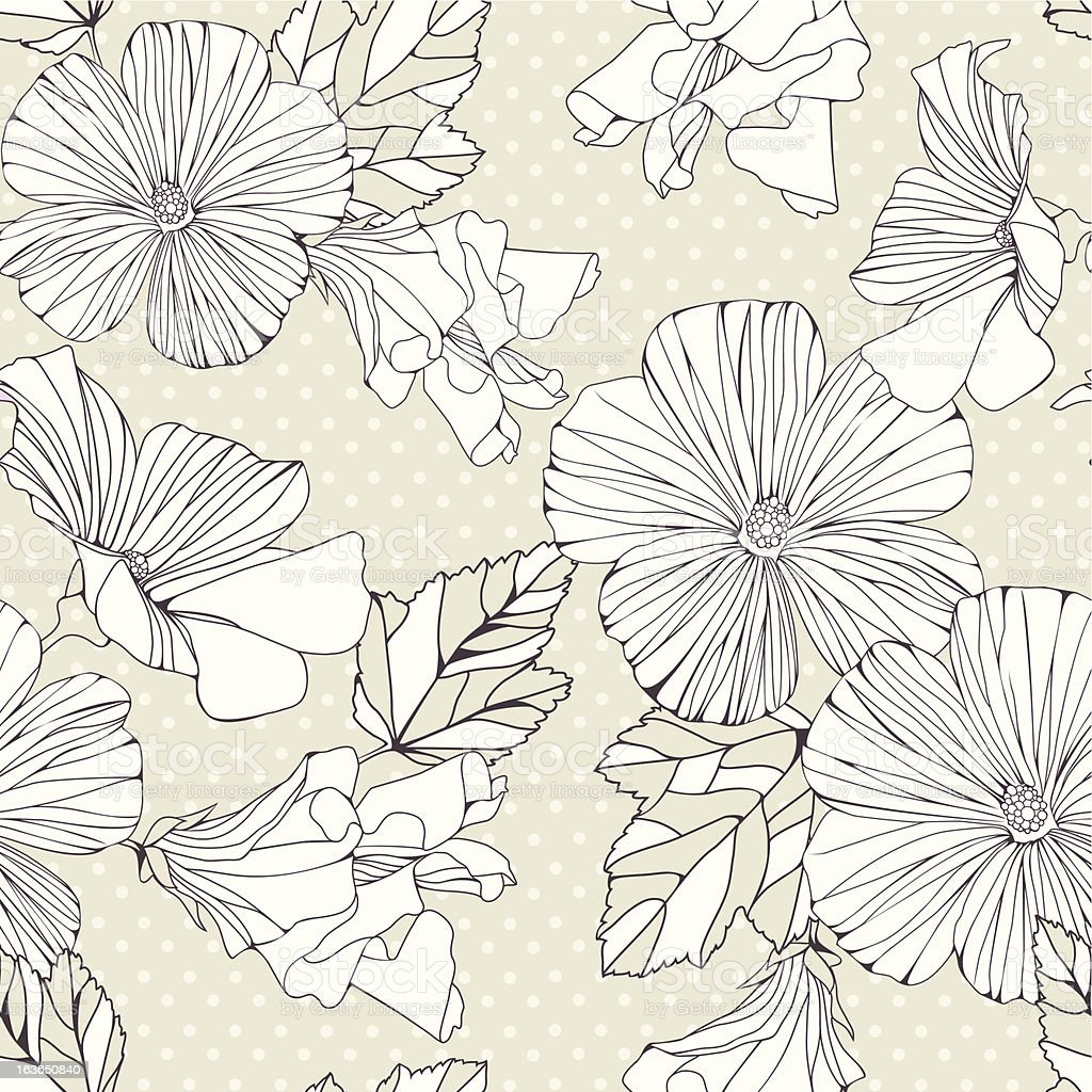 Seamless pattern with decorative hibiscus flowers. royalty-free stock vector art