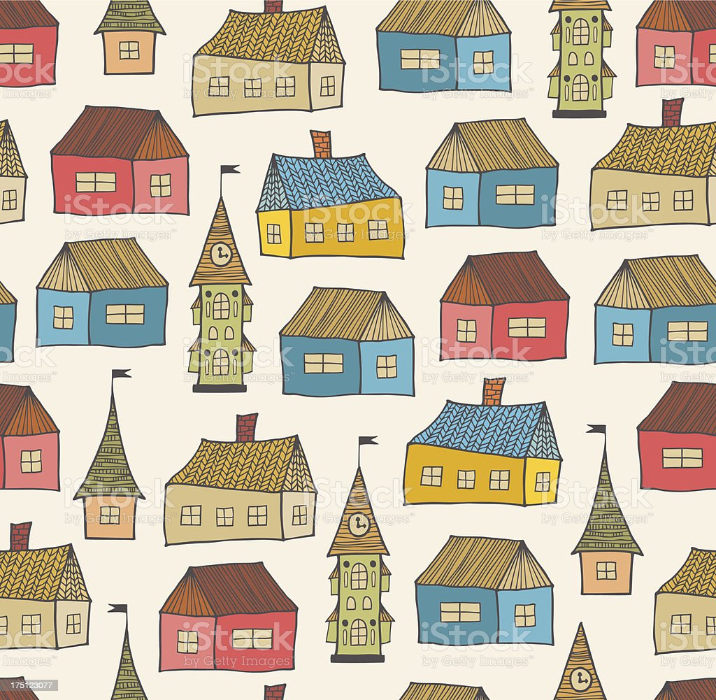 Seamless pattern with decorative houses royalty-free stock vector art