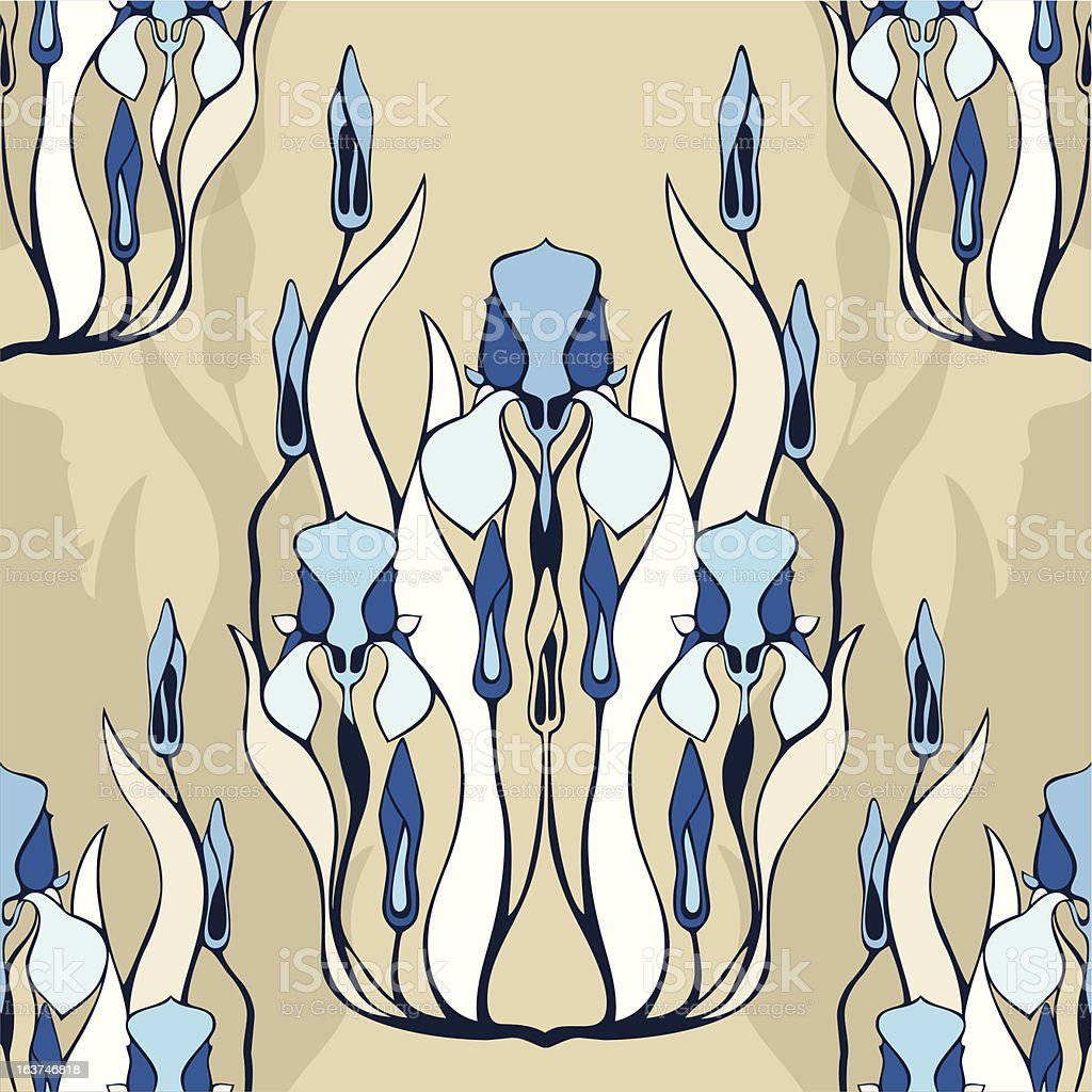 Seamless pattern with decorative iris flowers. royalty-free stock vector art