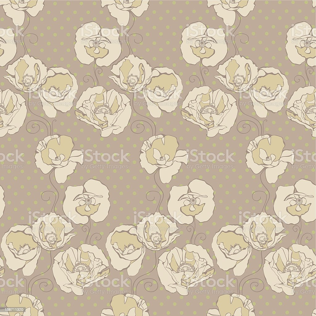 Seamless pattern with decorative poppy flowers on spotted background royalty-free stock vector art