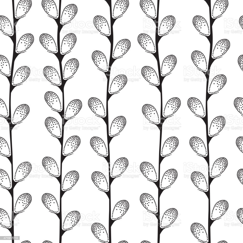 Seamless pattern with decorative pussy-willow vector art illustration