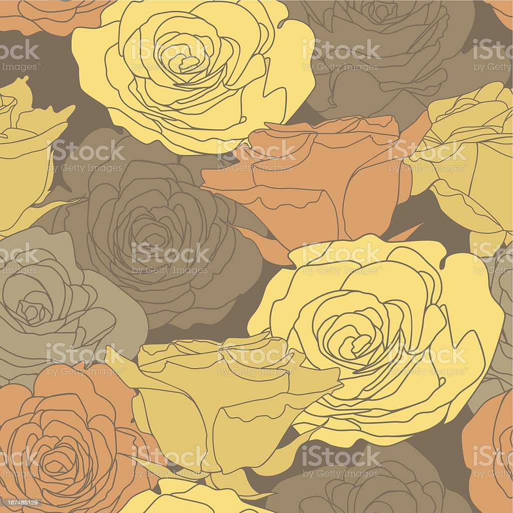 Seamless pattern with decorative roses flowers in brown colors royalty-free stock vector art