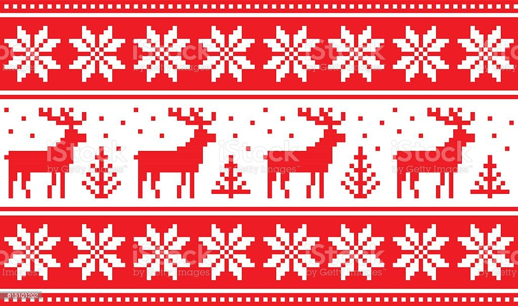 Seamless pattern with deers and nordic stars vector art illustration