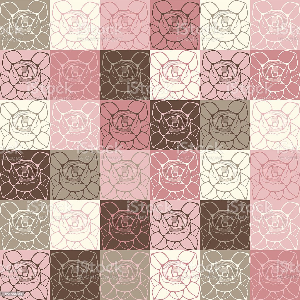 Seamless pattern with delicate art nouveau roses flowers. royalty-free stock vector art