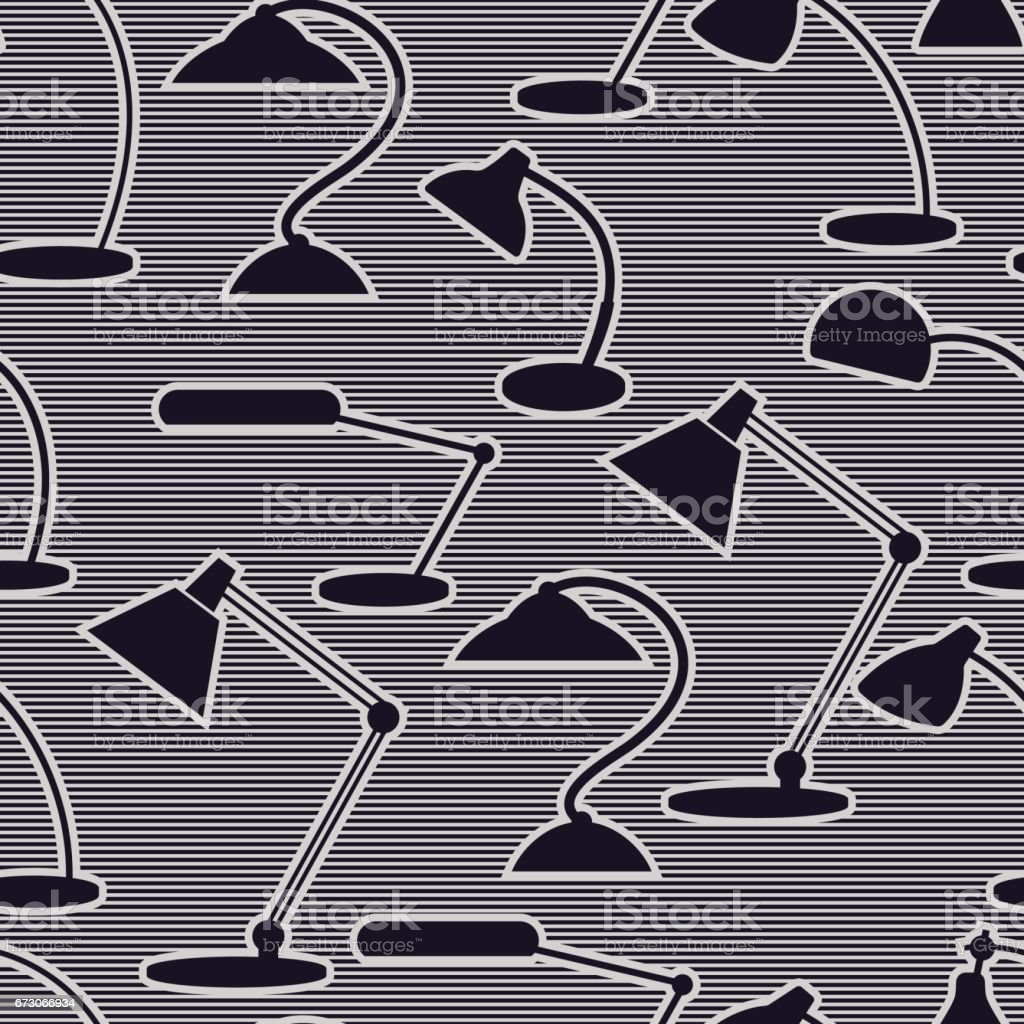 Seamless pattern with desk lamps. vector art illustration