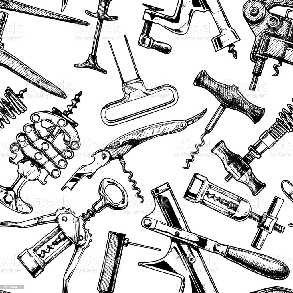 Seamless pattern with different corkscrews vector art illustration