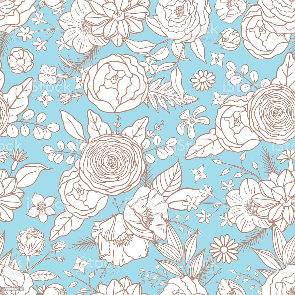 Seamless pattern with different flowers. vector art illustration