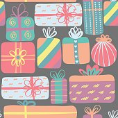 Seamless pattern with different gift boxes. Colorful creative presents