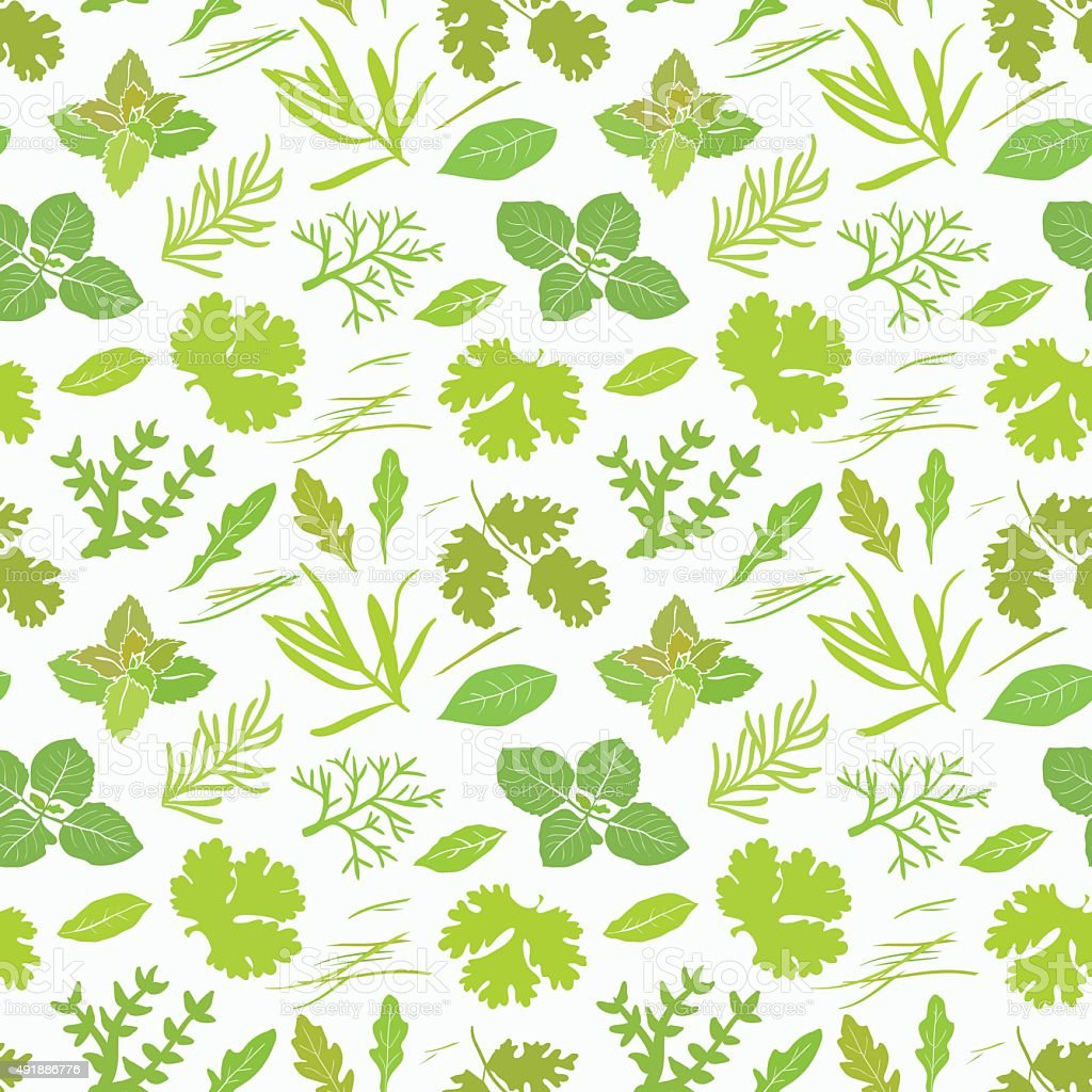 Seamless pattern with different green spices vector art illustration