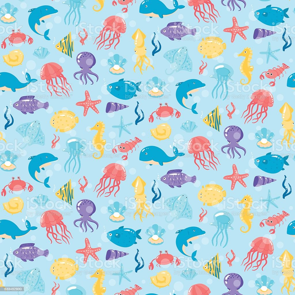 Seamless pattern with different sea underwater animals in cute...