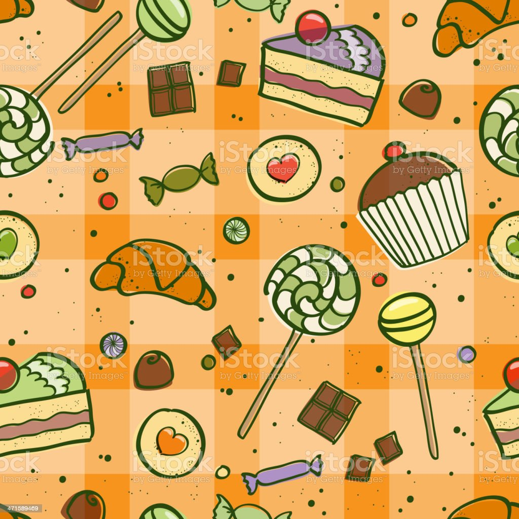 Seamless pattern with different sweets on tablecloth in orange color. royalty-free stock vector art