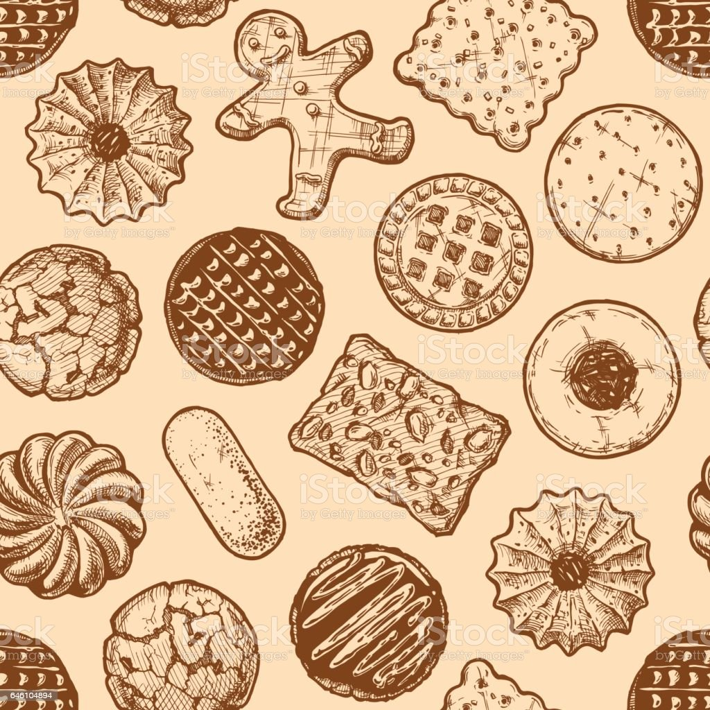 seamless pattern with different tasty cookies. vector art illustration