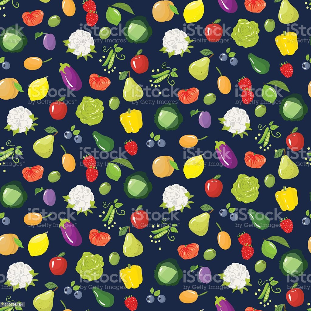 Seamless pattern with different vegetables, fruits and berries. vector art illustration
