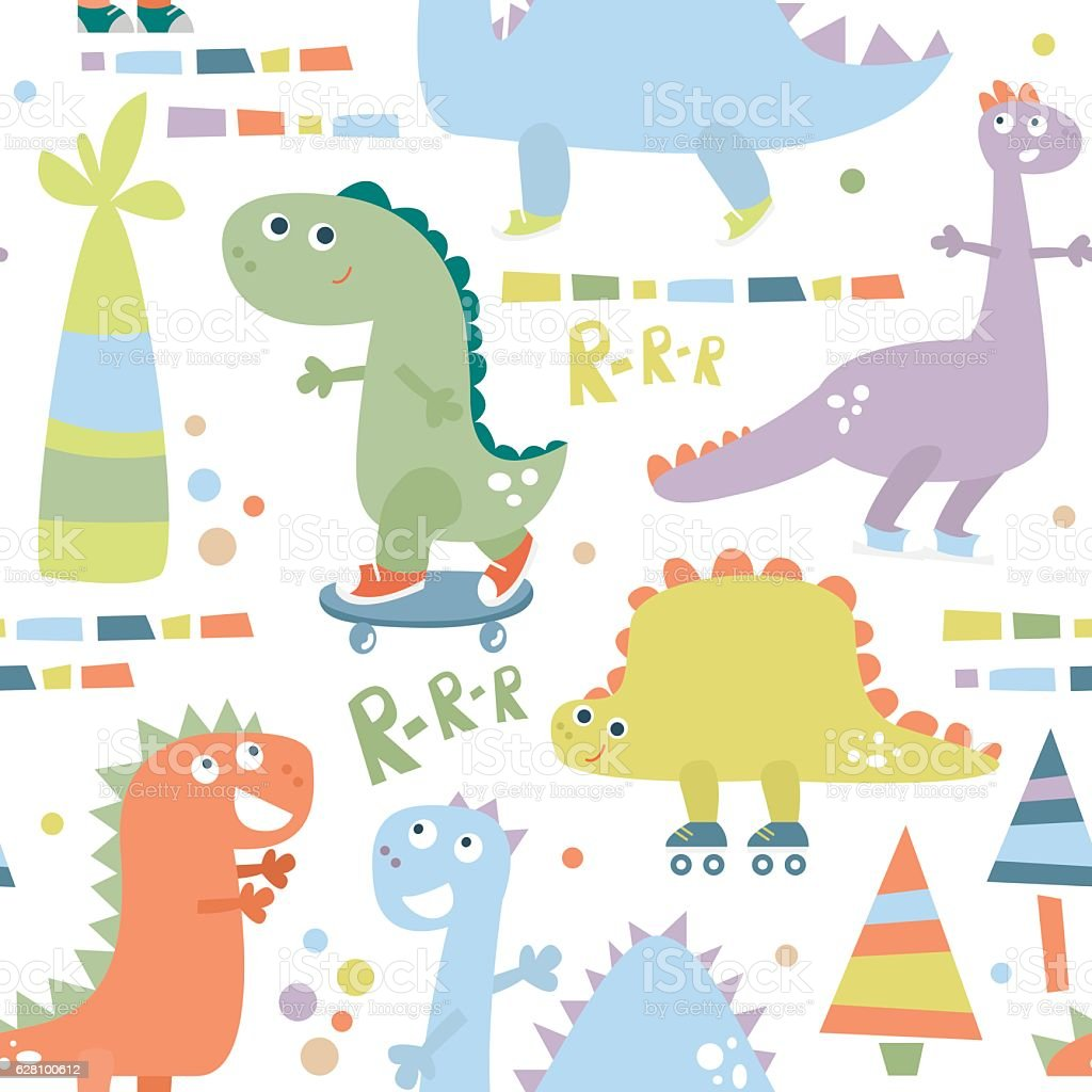 Seamless pattern with dinosaur. Baby background for textile, wrapping, fabric, vector art illustration