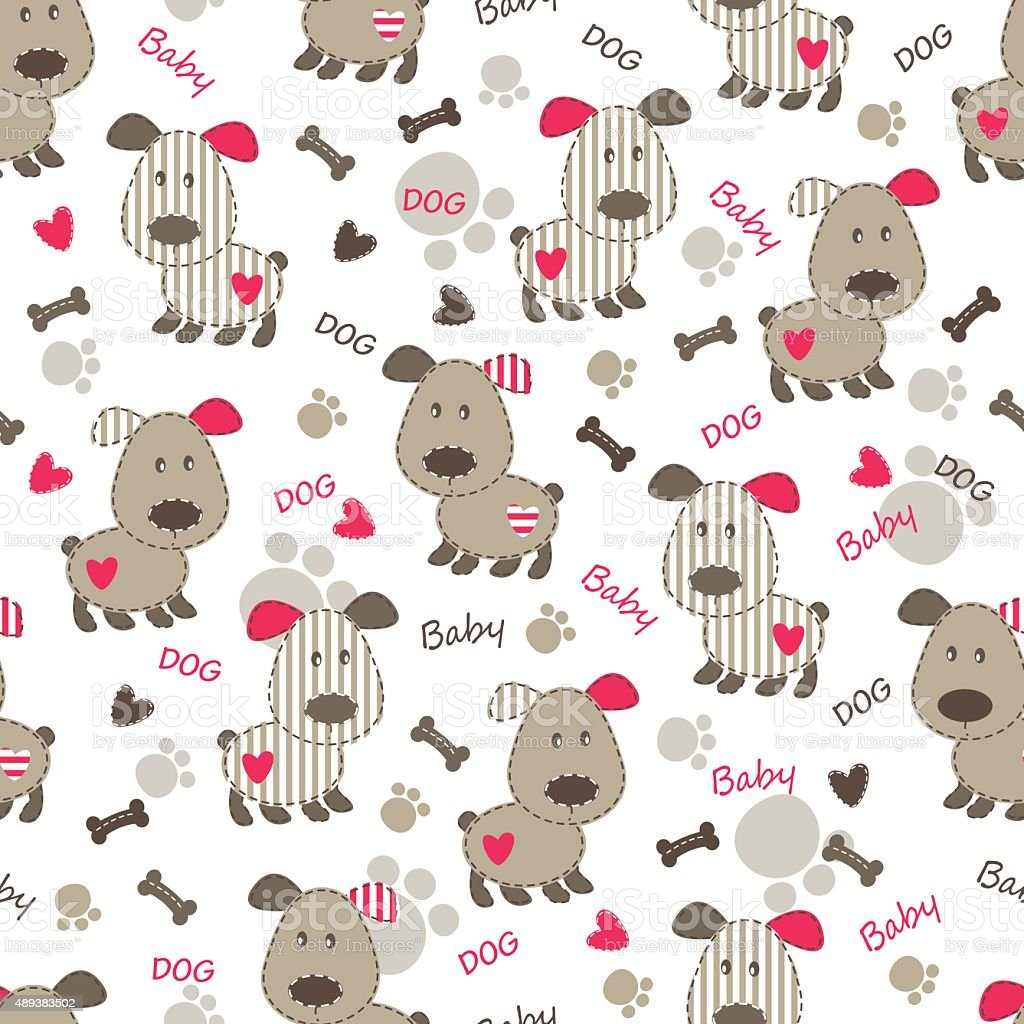 Seamless pattern with dog vector art illustration