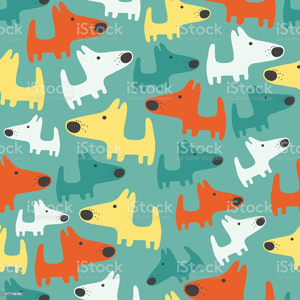 seamless pattern with dogs vector art illustration