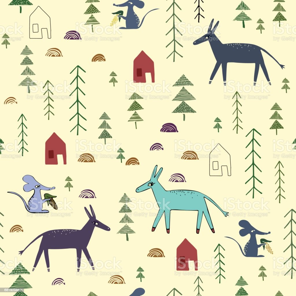 Seamless pattern with donkey, mouse, house, spruce. vector art illustration