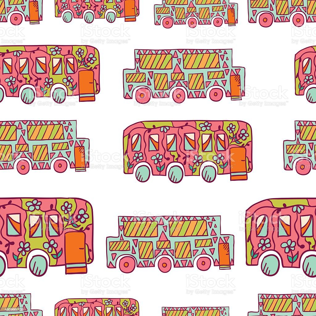Seamless pattern with doodle recreational vechicles-3 vector art illustration