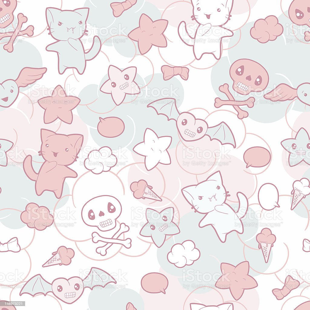 Seamless pattern with doodle. Vector kawaii illustration. royalty-free stock vector art