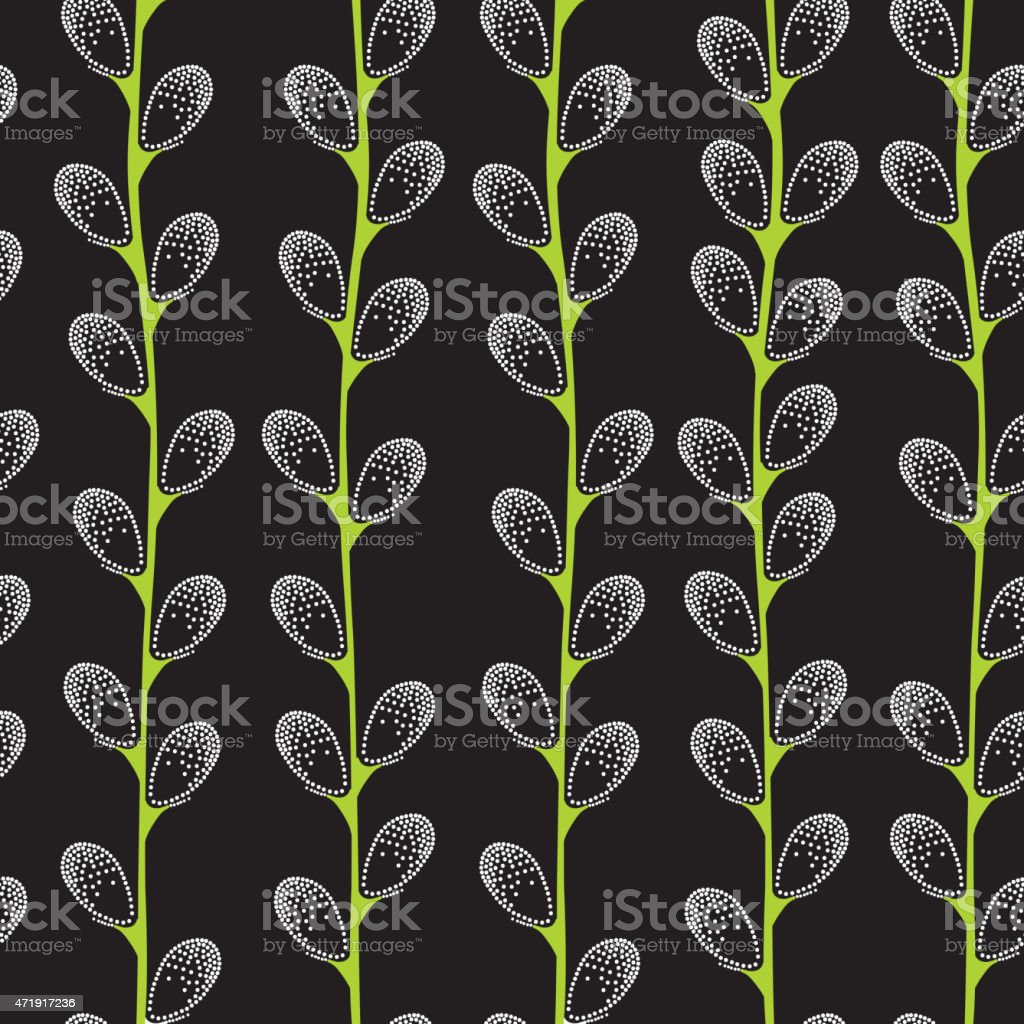 Seamless pattern with dotted pussy-willow vector art illustration