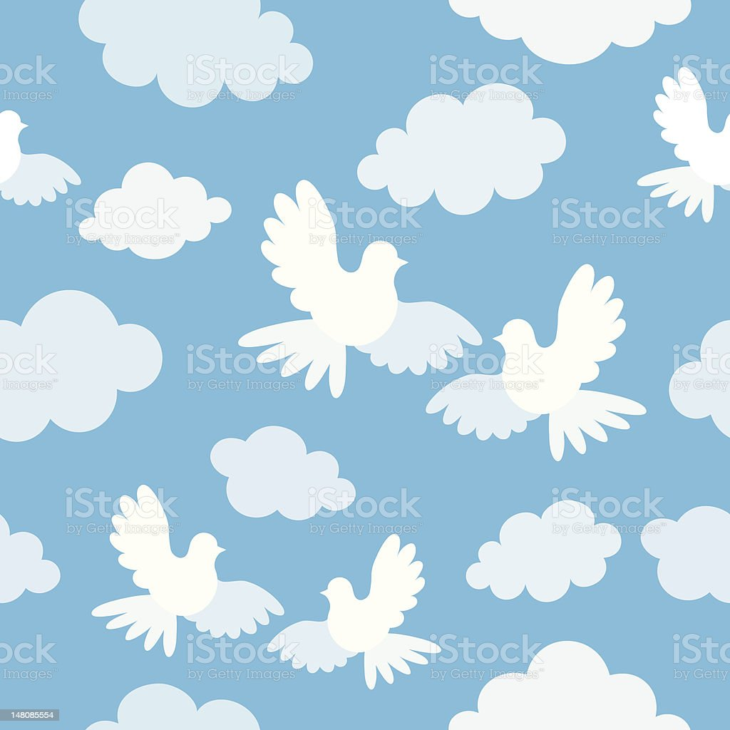 Seamless pattern with doves and clouds royalty-free stock vector art