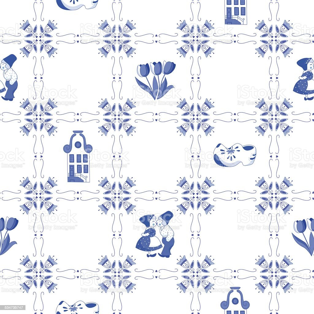 Seamless pattern with Dutch ornaments (Deflt blue style) vector art illustration