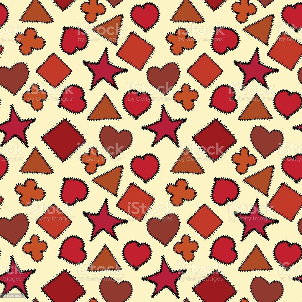 Seamless pattern with fabric pieces vector art illustration