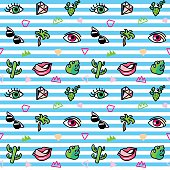 Seamless pattern with fashion patches. Pop art. Vector background in