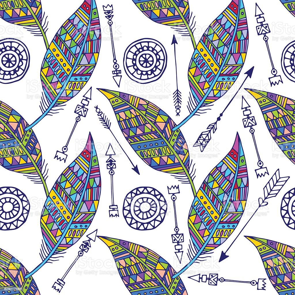 Seamless pattern with feather and arrows in vector royalty-free stock vector art