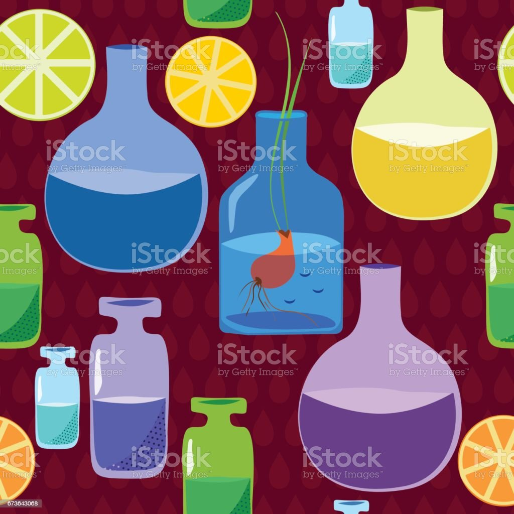 Seamless pattern with flasks, bubbles, plants, seedlings against the background of drops. vector art illustration