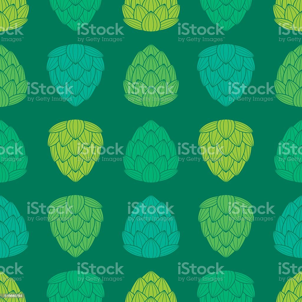 Seamless pattern with flat style green color hops. vector art illustration