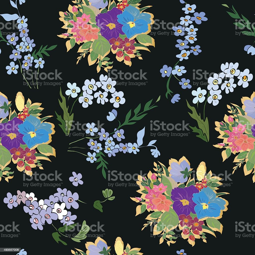 Seamless pattern with floral design vector art illustration