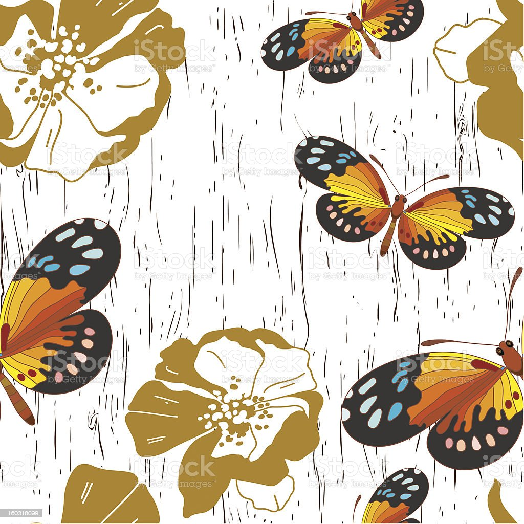 Seamless pattern with flowers and butterflies royalty-free stock vector art