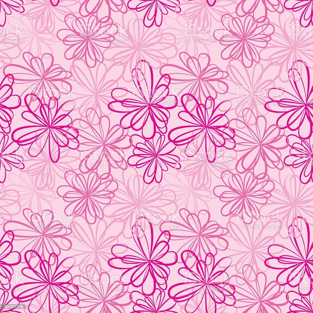 Motif sans couture avec fleurs et rubans sur fond rose - Deco printempsidees avec fleurs et motif floral ...