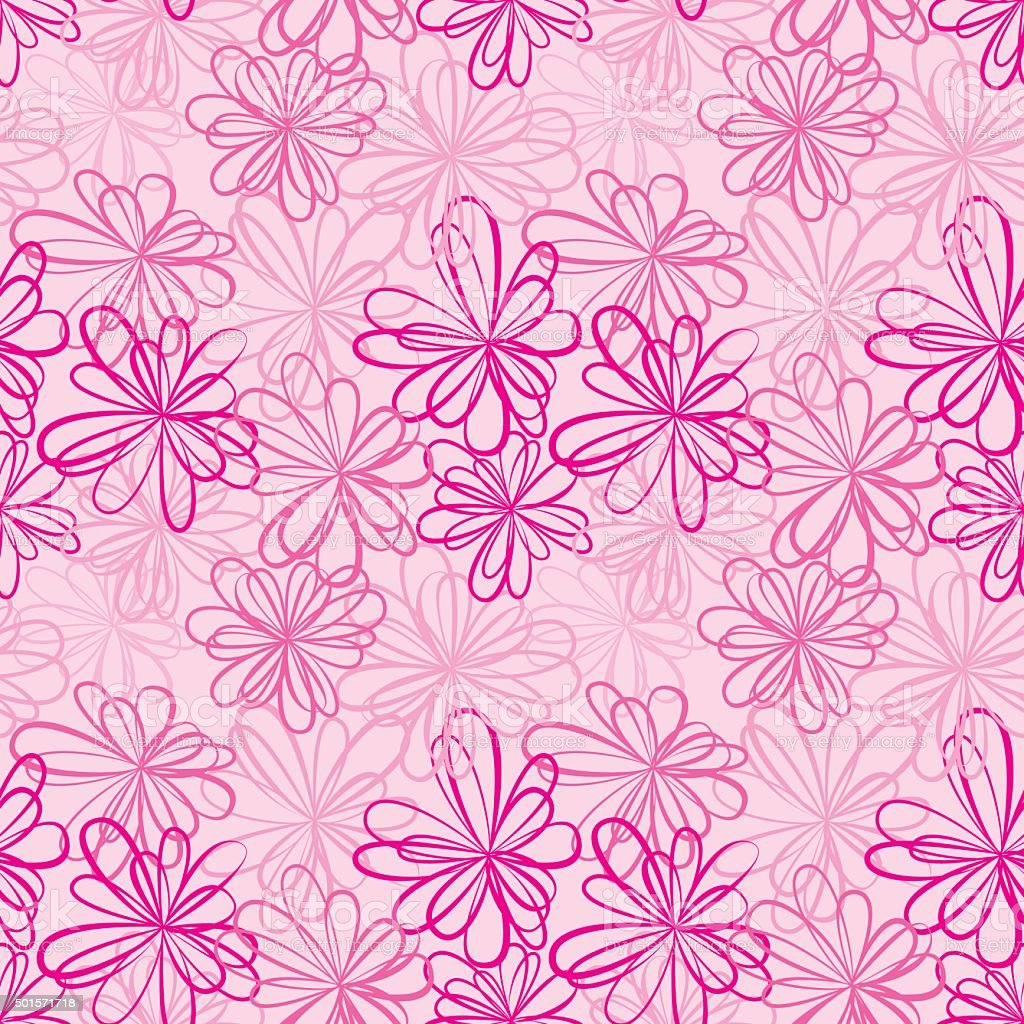 Seamless pattern with flowers and ribbons on pink background. vector art illustration