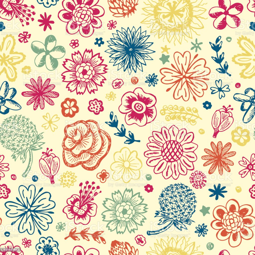 Seamless pattern with flowers. Endless floral texture. Vintage floral wallpaper. vector art illustration