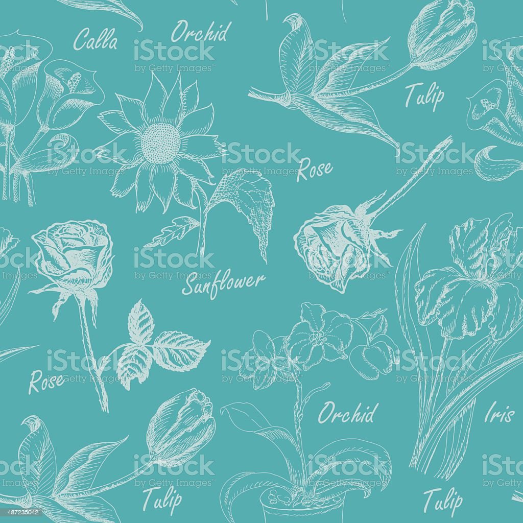 Seamless pattern with  flowers. Iris, calla lily, tulip, orchid, sunflower vector art illustration