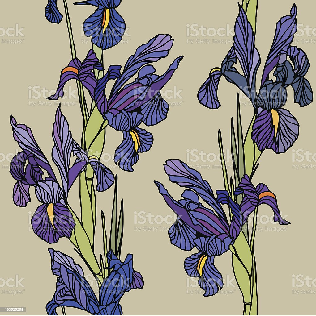 Seamless pattern with flowers irises royalty-free stock vector art