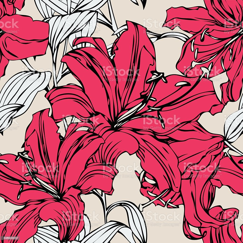 Seamless pattern with flowers lily vector art illustration