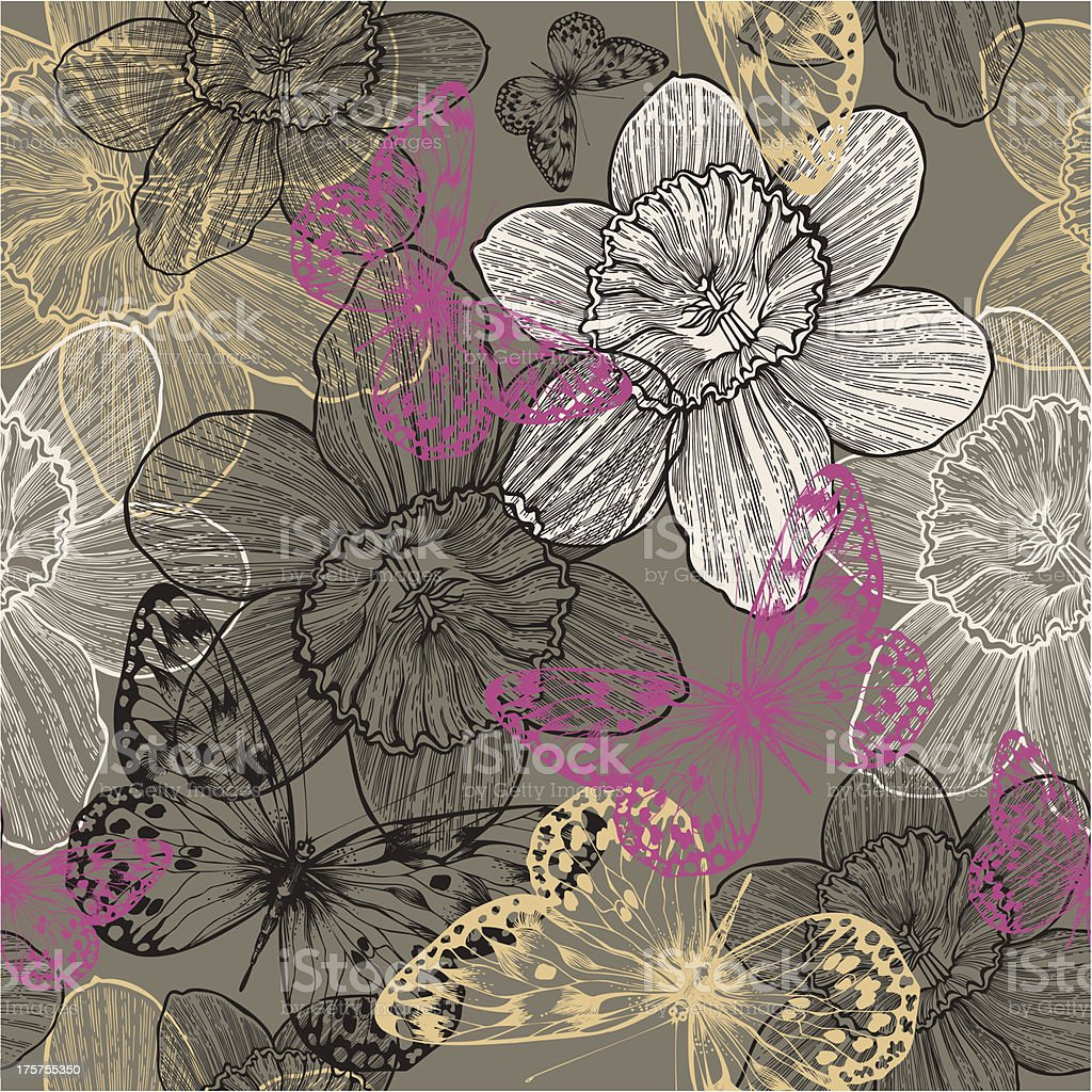 Seamless pattern with flowers narcissus and pink butterflies, hand drawing. royalty-free stock vector art