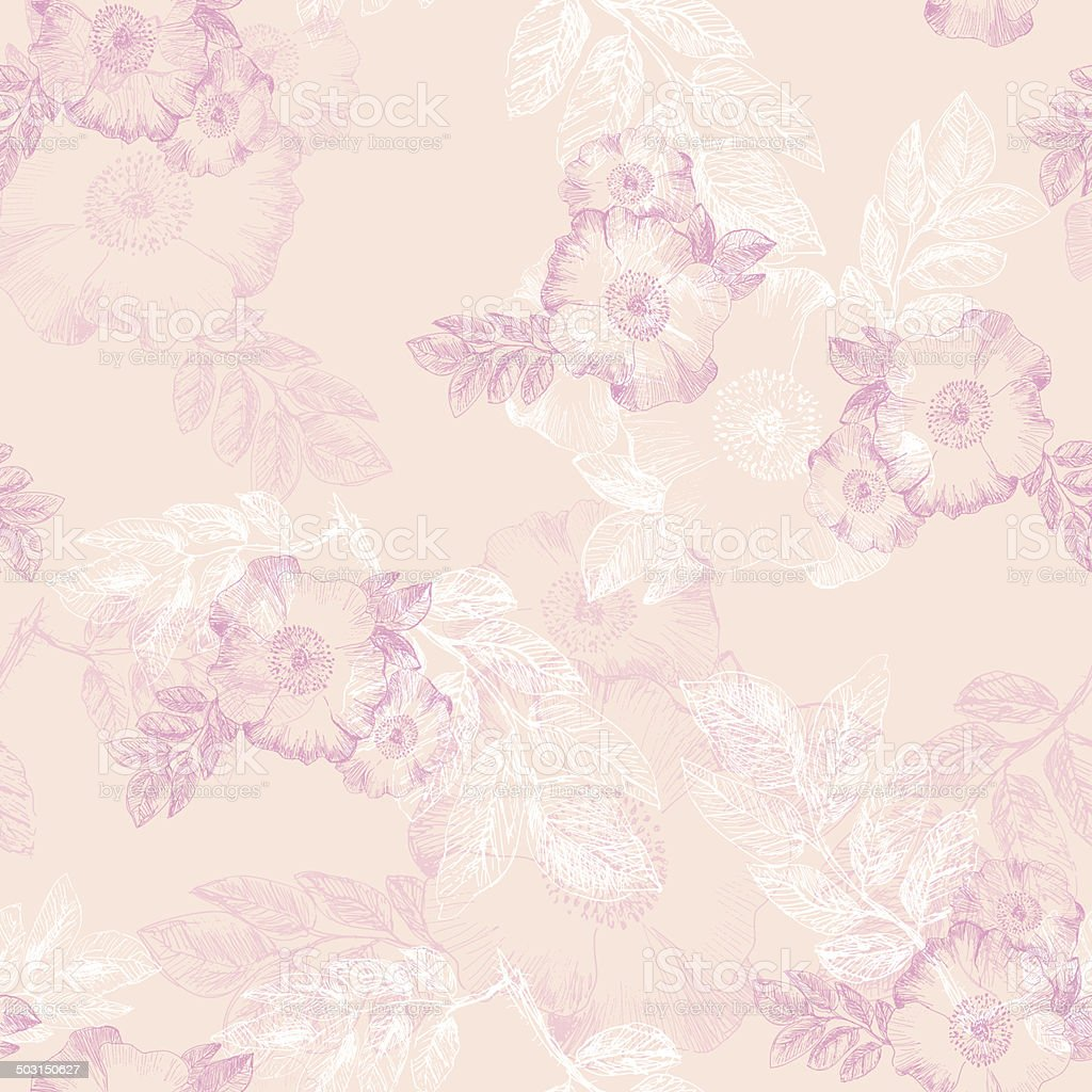 Seamless pattern with flowers of briar vector art illustration