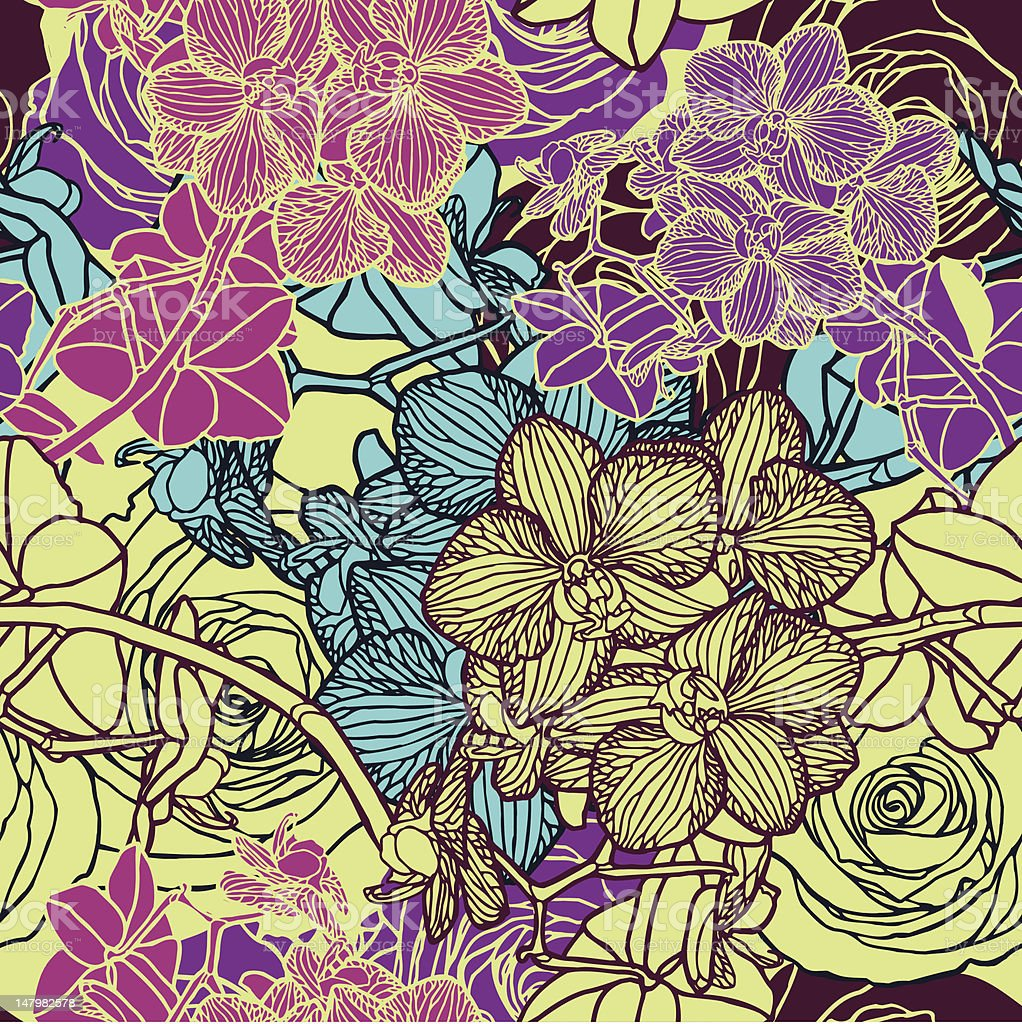Seamless pattern with flowers orchids royalty-free stock vector art