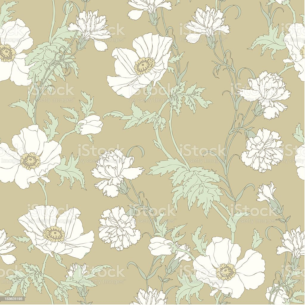 Seamless pattern with flowers poppies and carnations royalty-free stock vector art