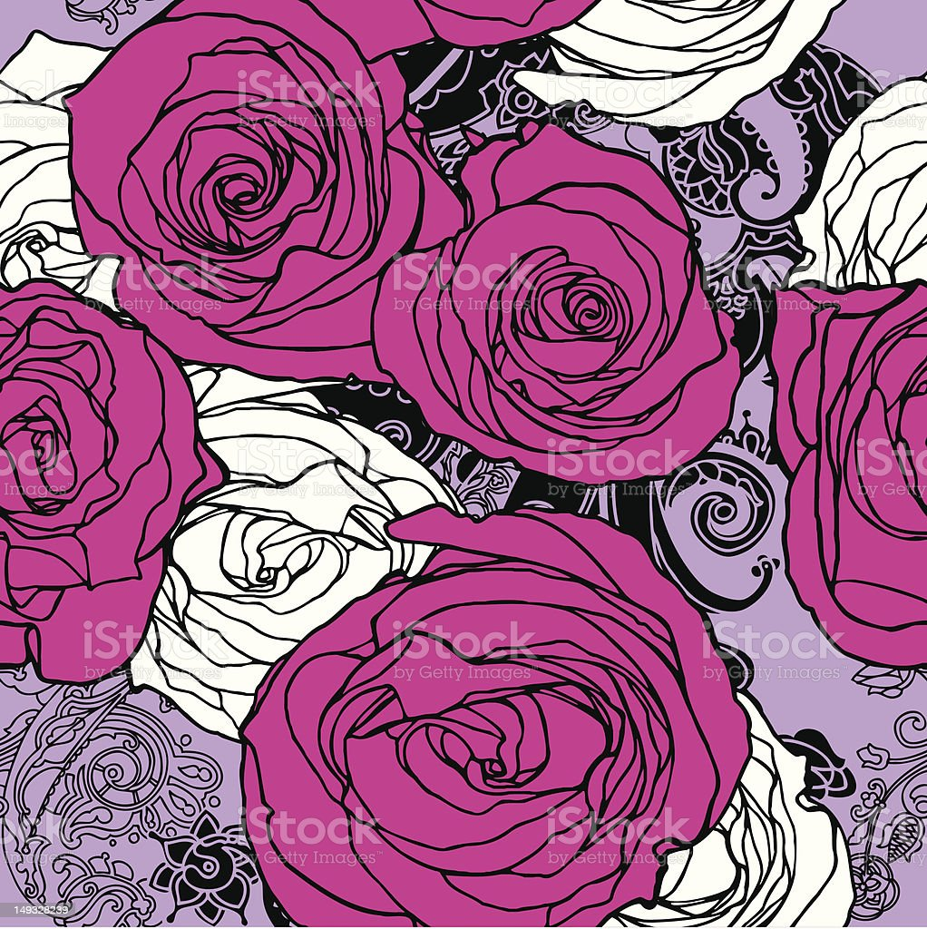 Seamless pattern with flowers rose royalty-free stock vector art
