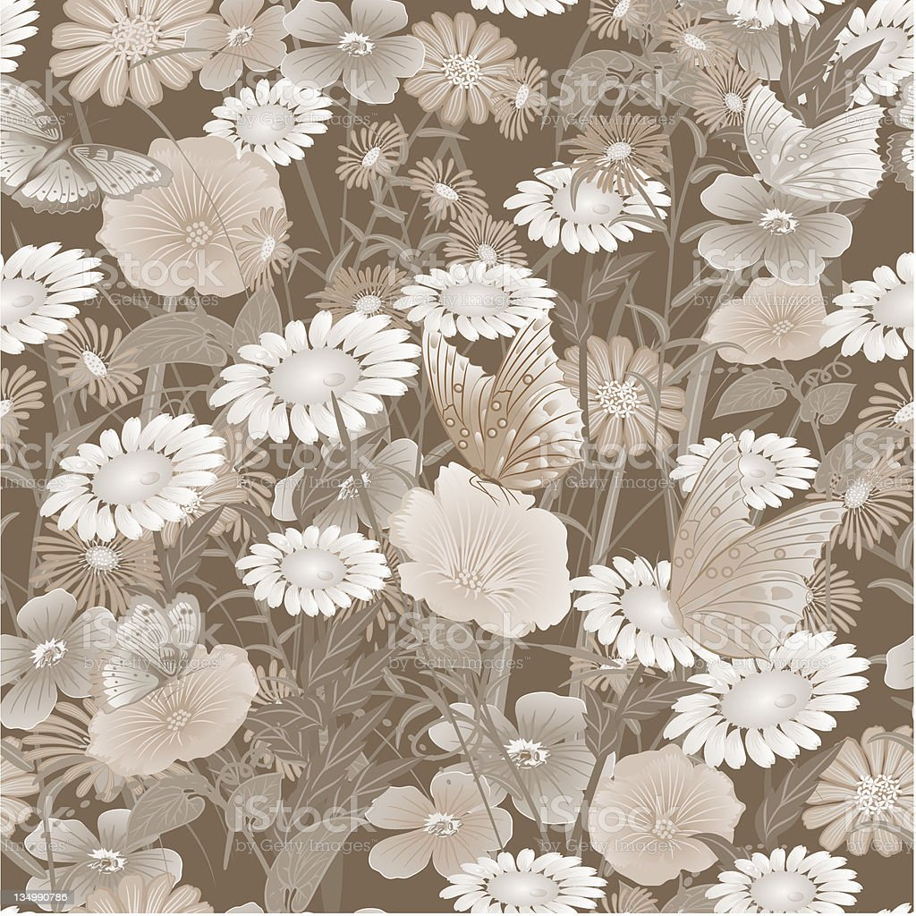 seamless pattern with flowers, sepia royalty-free stock vector art