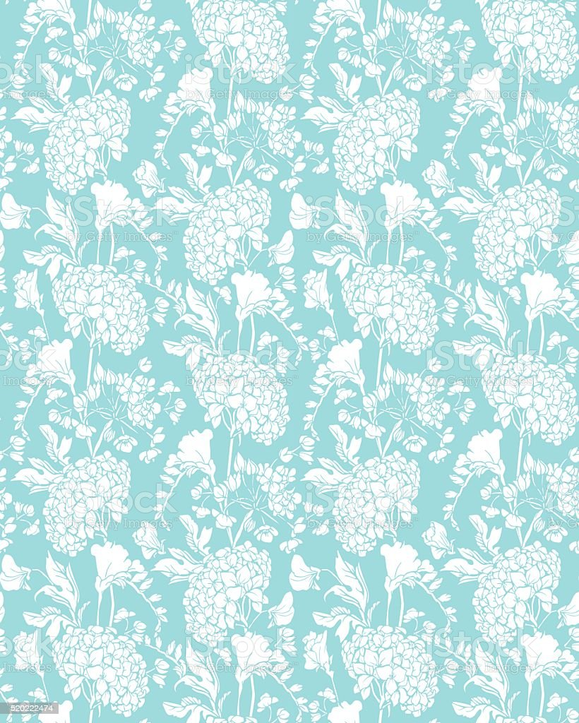 Seamless pattern with Realistic graphic flowers - sweet pea and...