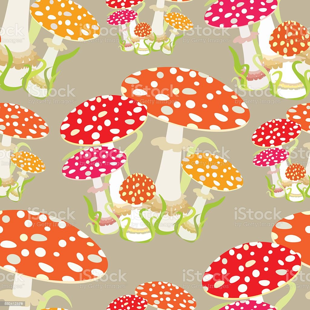 seamless pattern with fly agaric, Amanita muscaria. vector illus vector art illustration