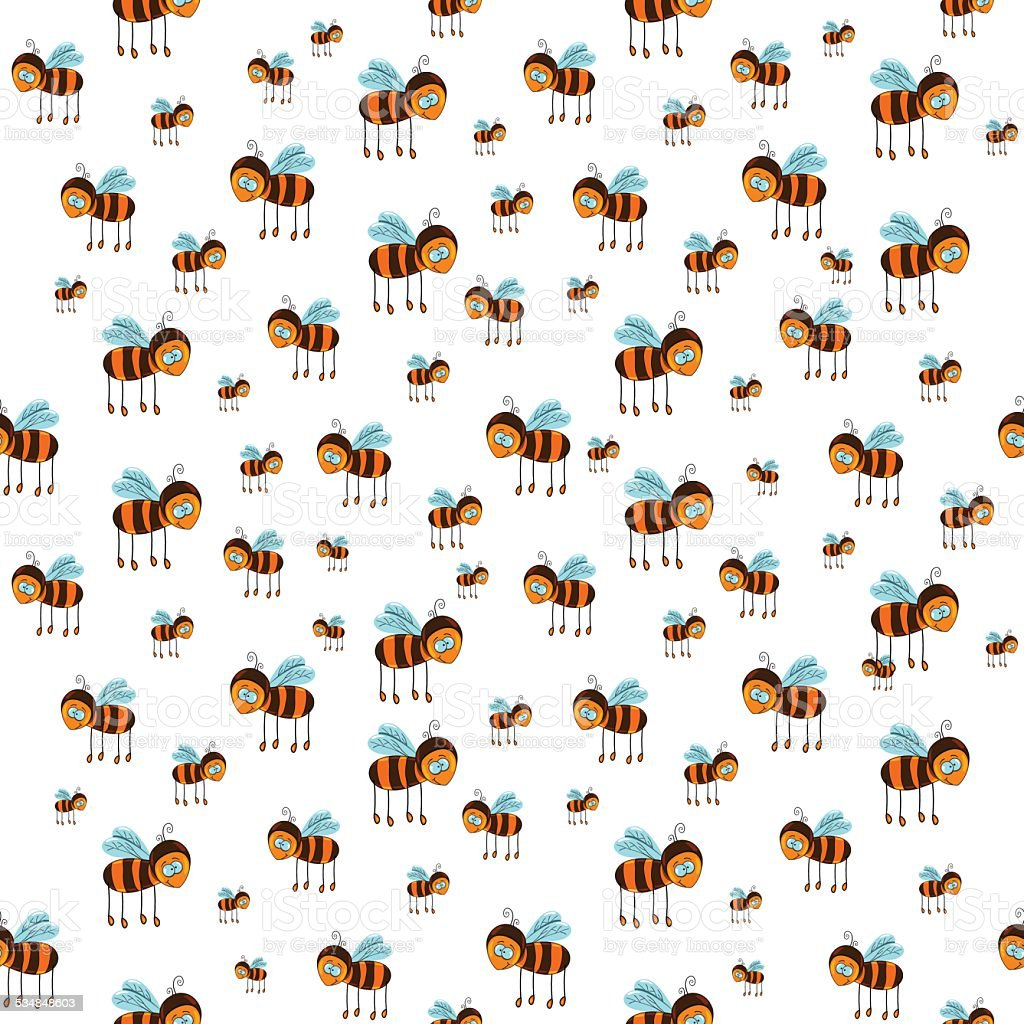 seamless pattern with flying bees vector art illustration